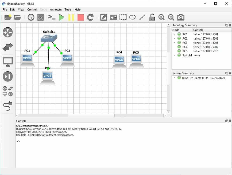 GNS3 working nodes