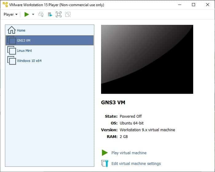 How to start GNS3 VM server 3