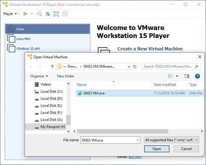 How to start GNS3 VM server