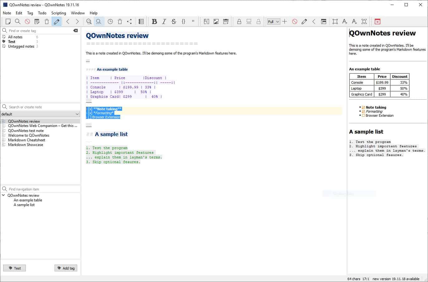 QOwnNotes is an open source note taking tool that supports Markdown