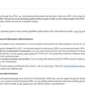 google shuts down cloud print