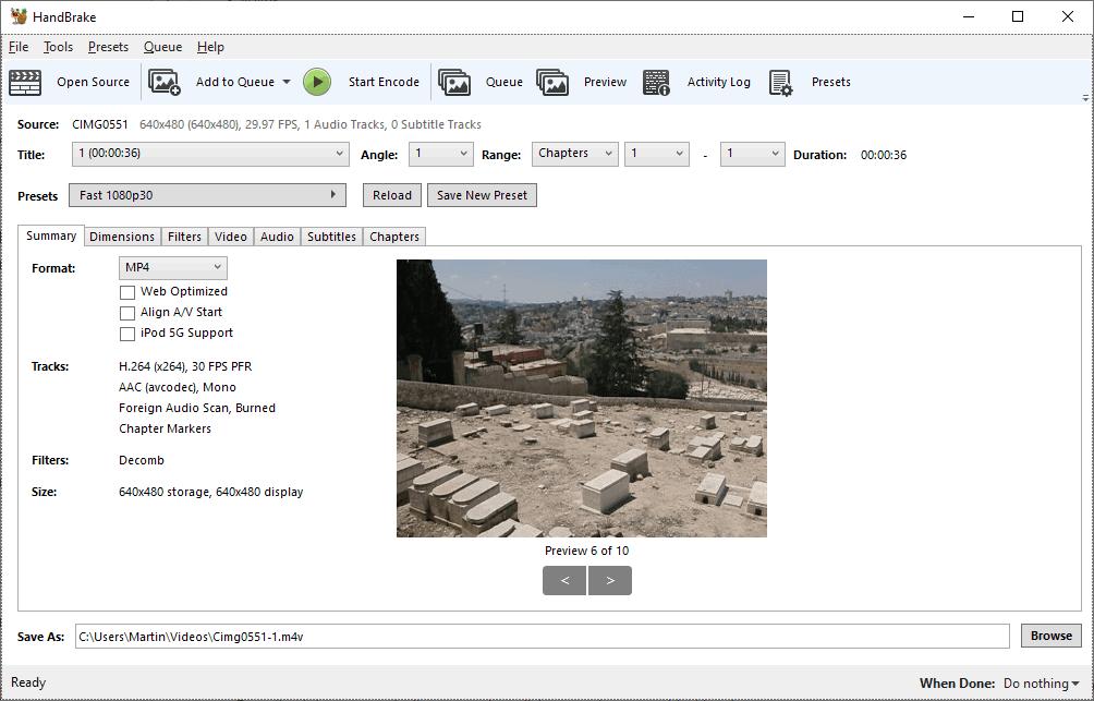 handbrake 1.3 video converter options