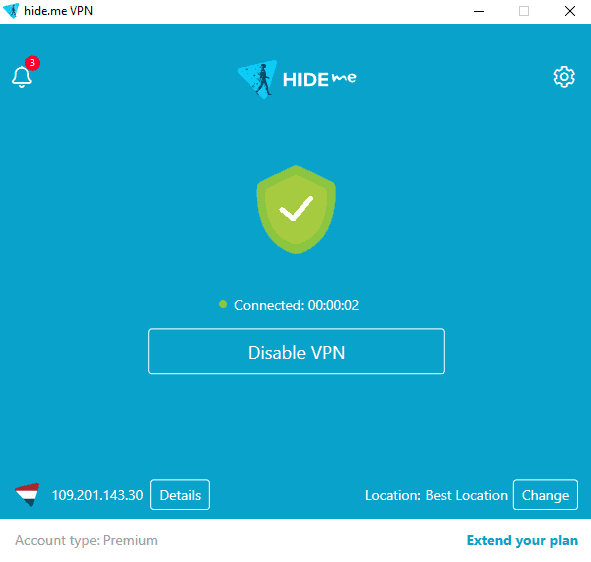 hide.me vpn connected