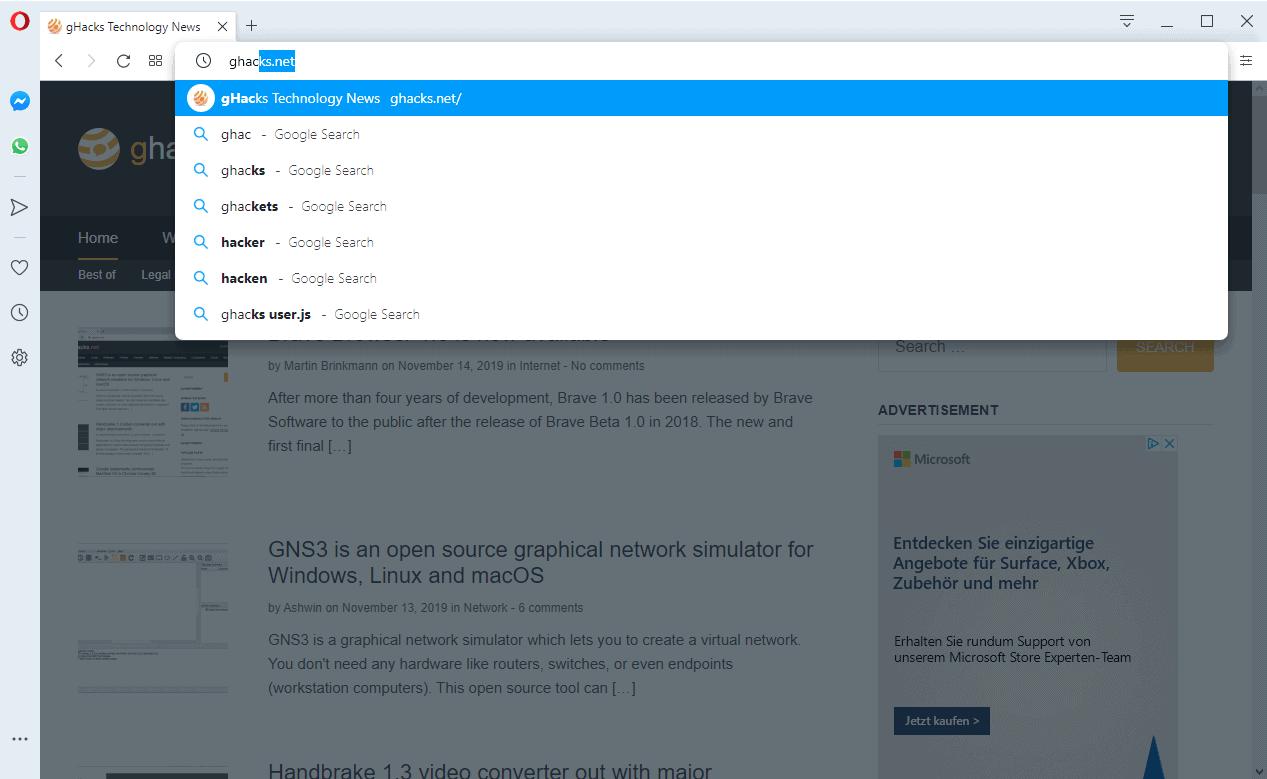 opera 65 redesigned address bar