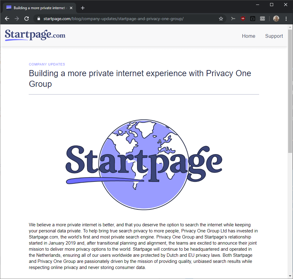 startpage privacy one group