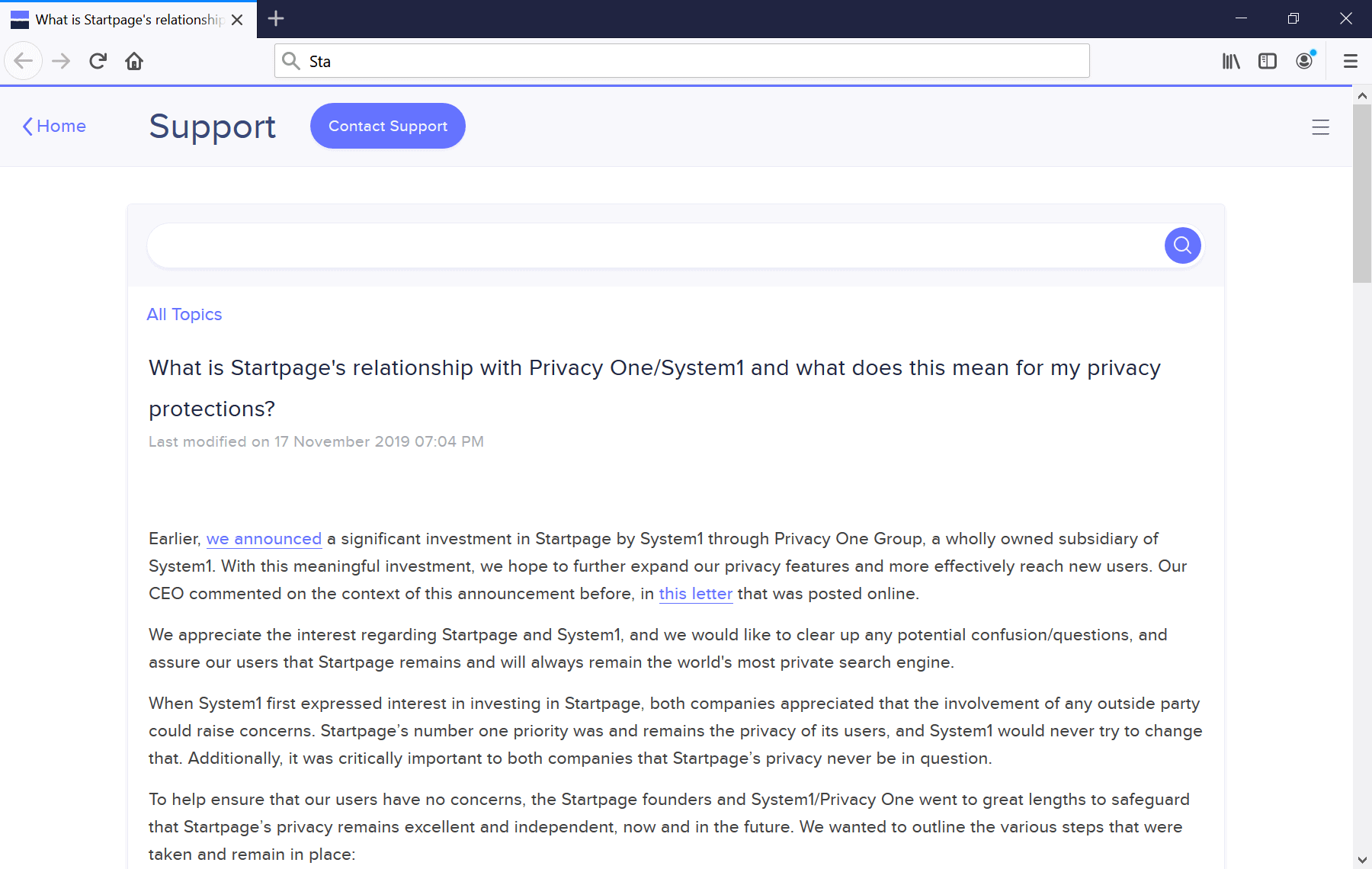 Startpage replies to questions about ownership change