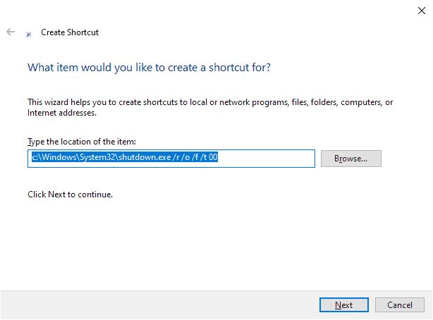 windows 10 advanced options shortcut