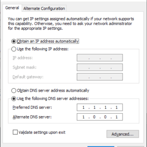 windows 10 dns settings