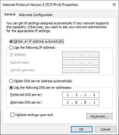 windows 10 dns settings