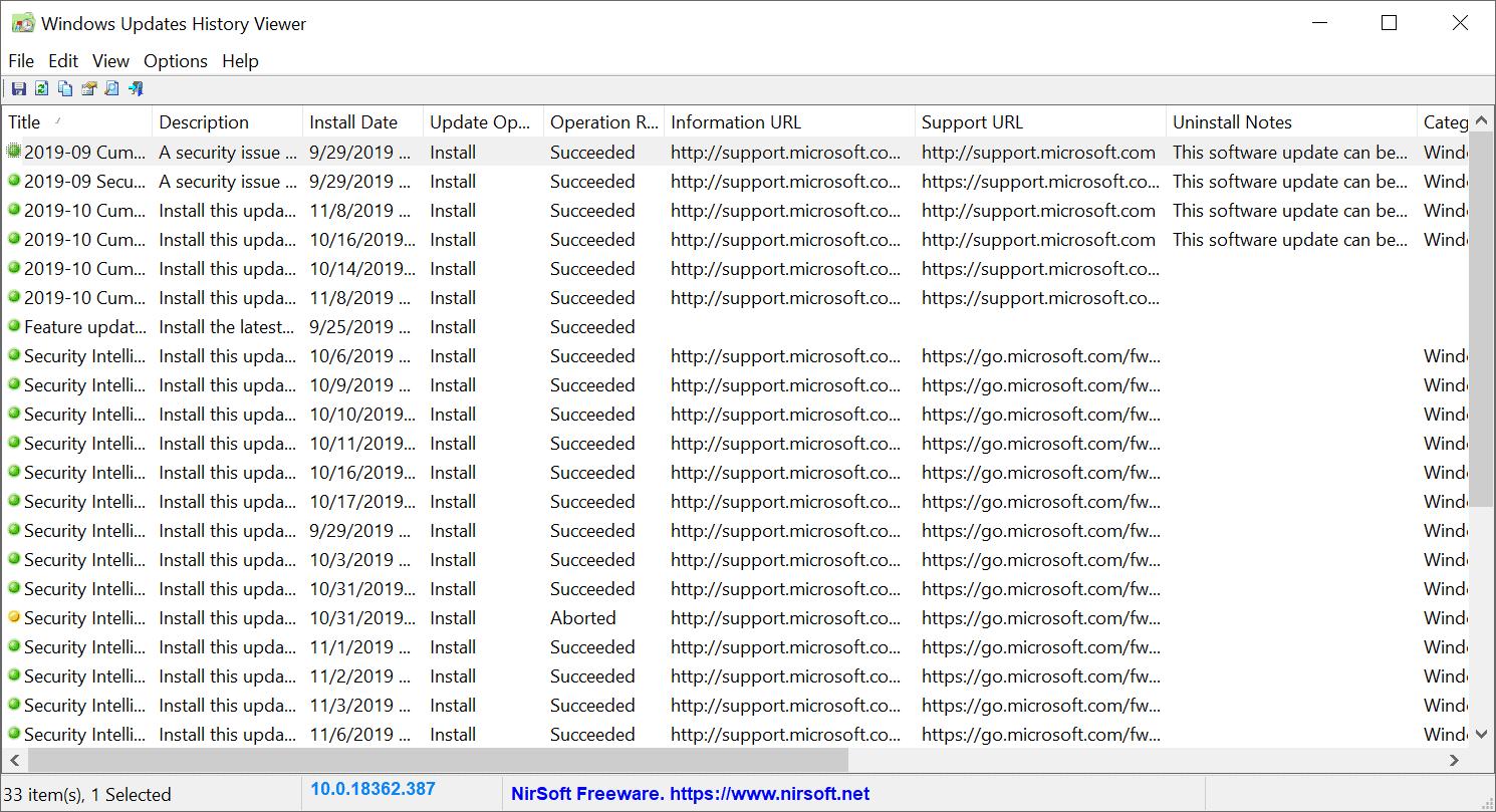 windows updates history viewer