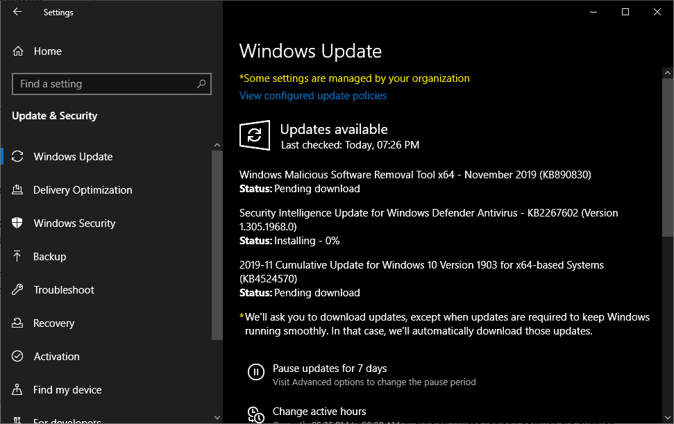 windows updates security november 2019