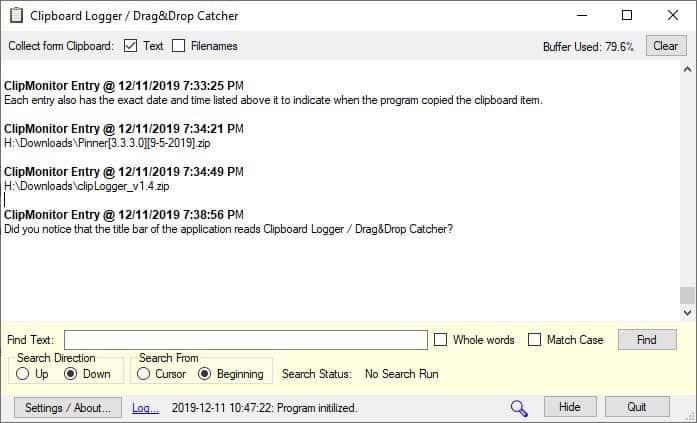CLipLogger search bar