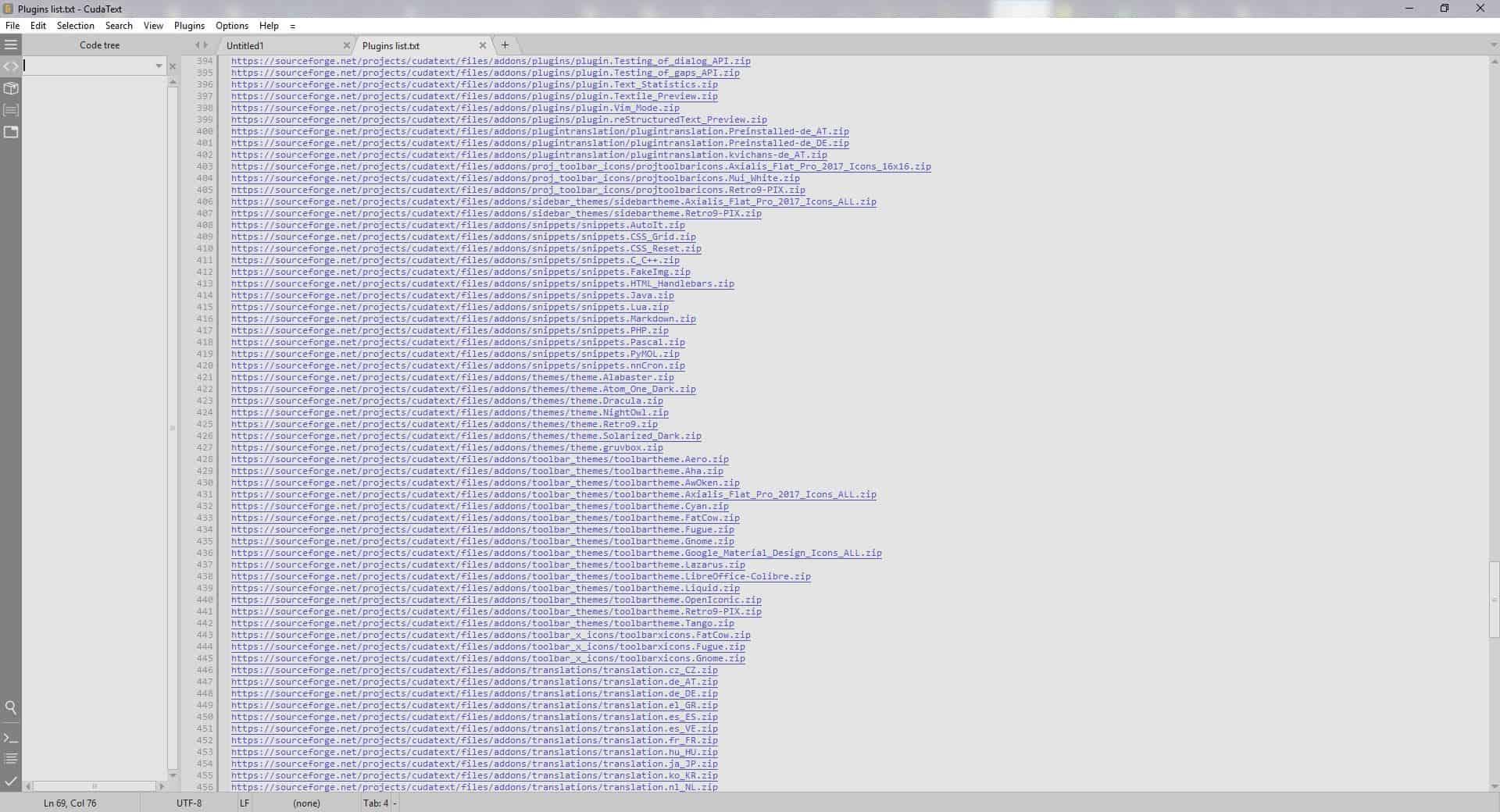 CudaText plugins snippets