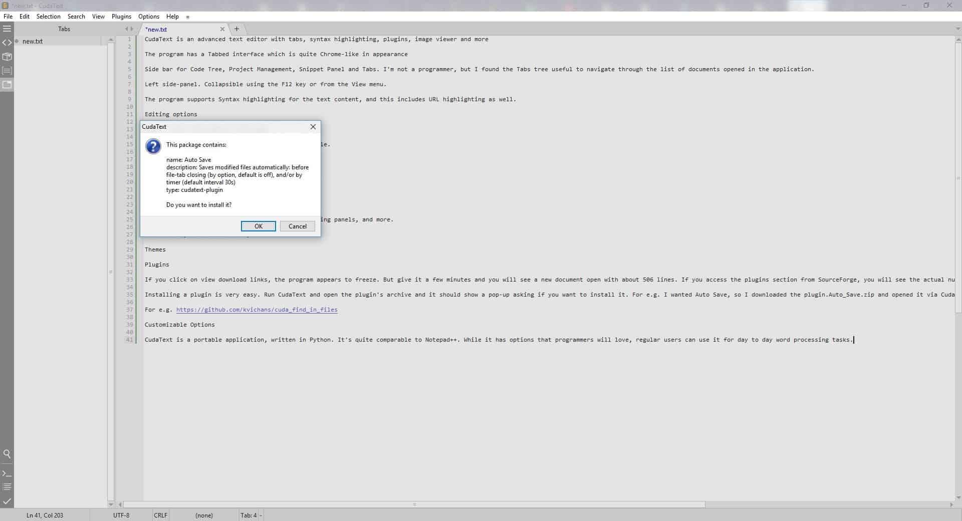 Cudatext plugin install