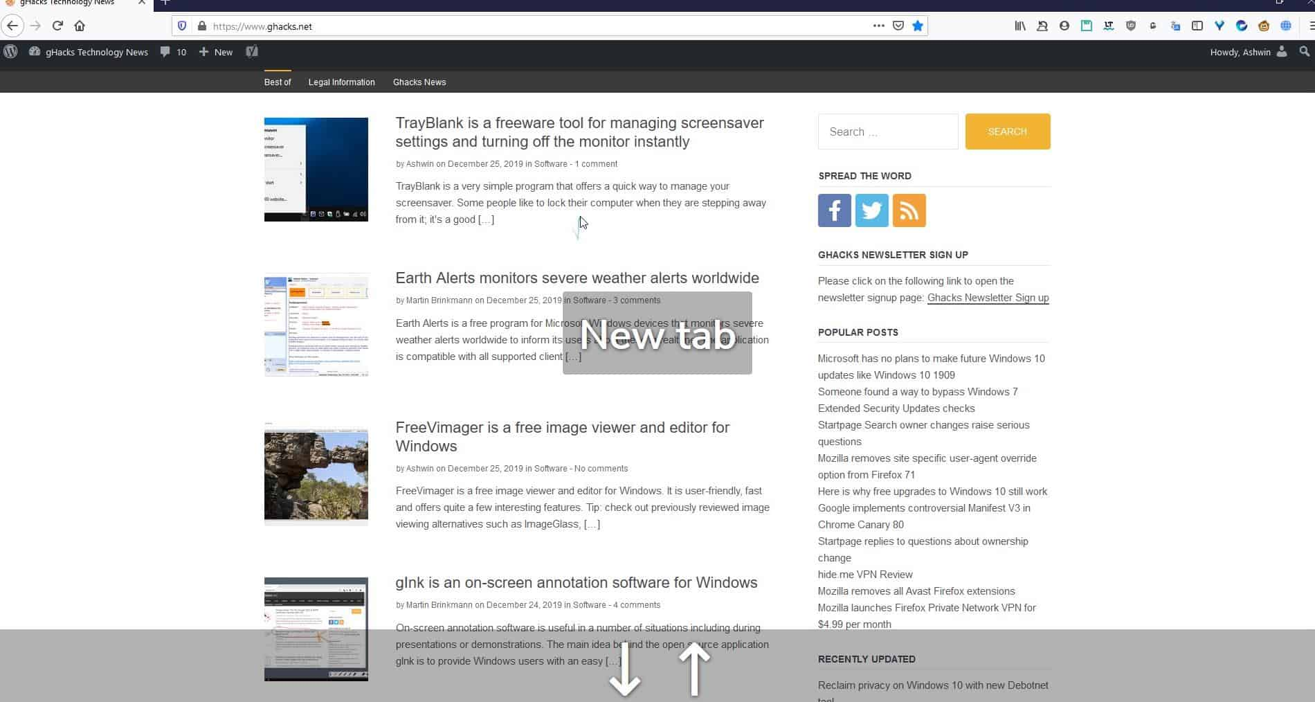 Enables mouse gestures in Firefox with the Gesturefy extension