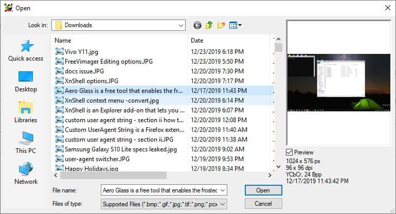 FreeVimager file preview