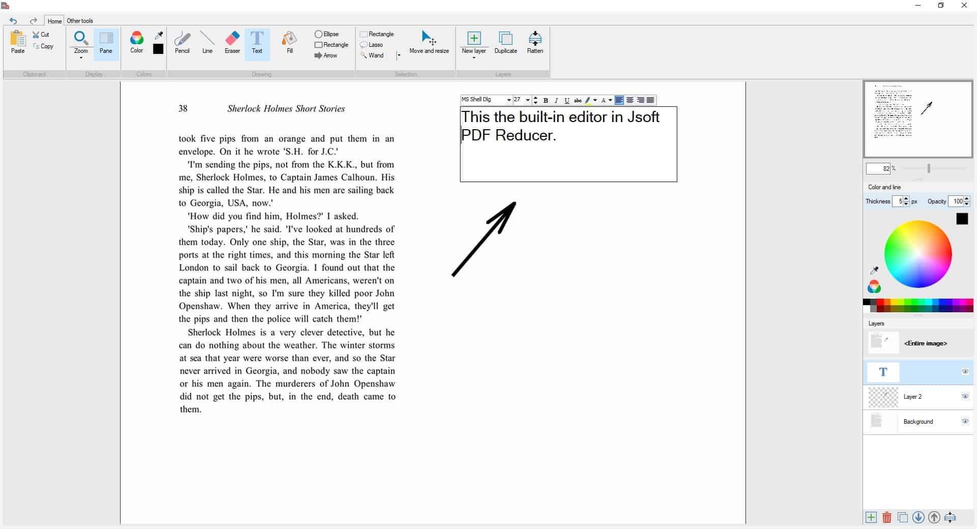 Jsoft PDF Reducer editor