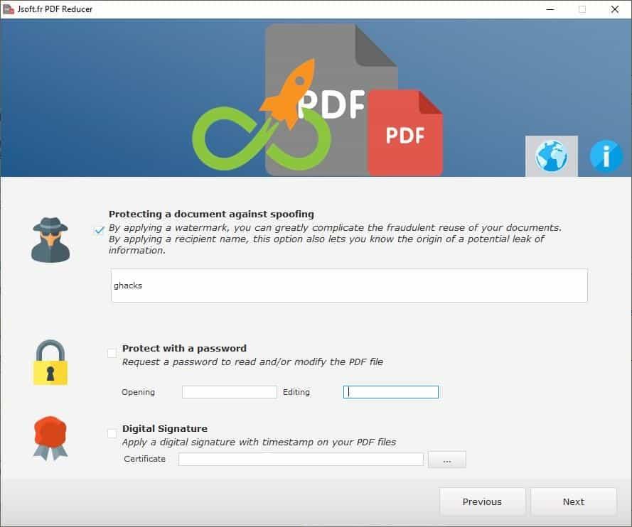 Jsoft PDF Reducer options 3