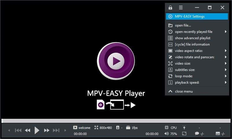 MPV-Easy Player menu