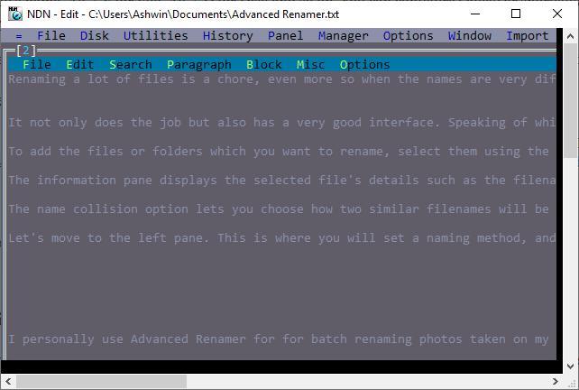 Necromancer's Dos Navigator text viewer