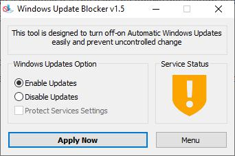 Windows Update Blocker yellow icon
