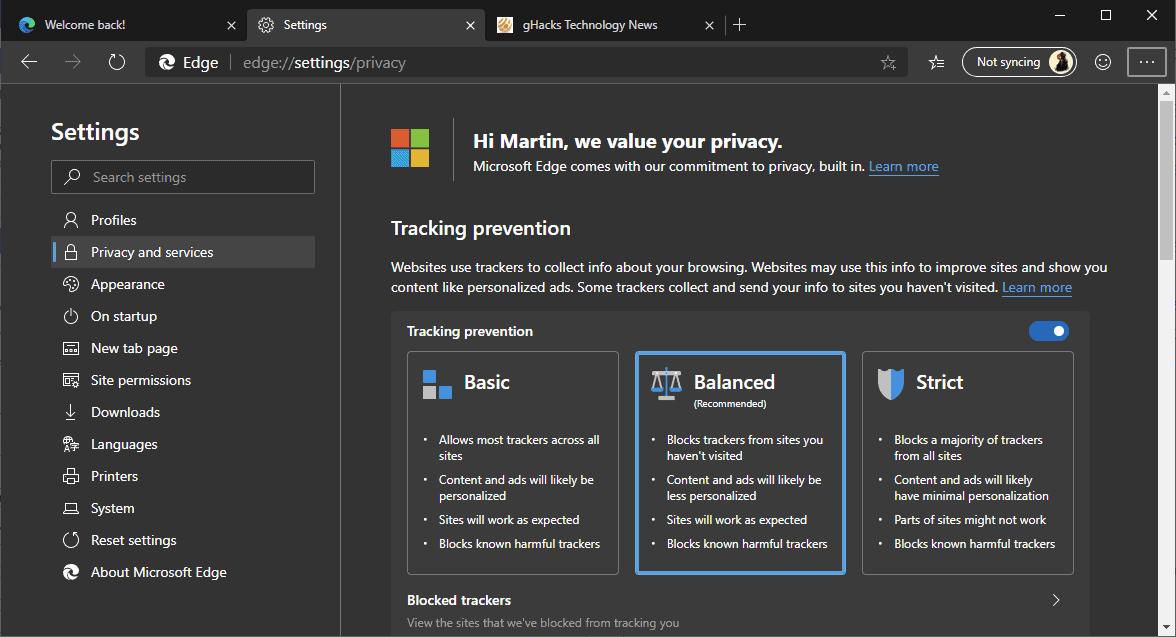 edge tracking prevention