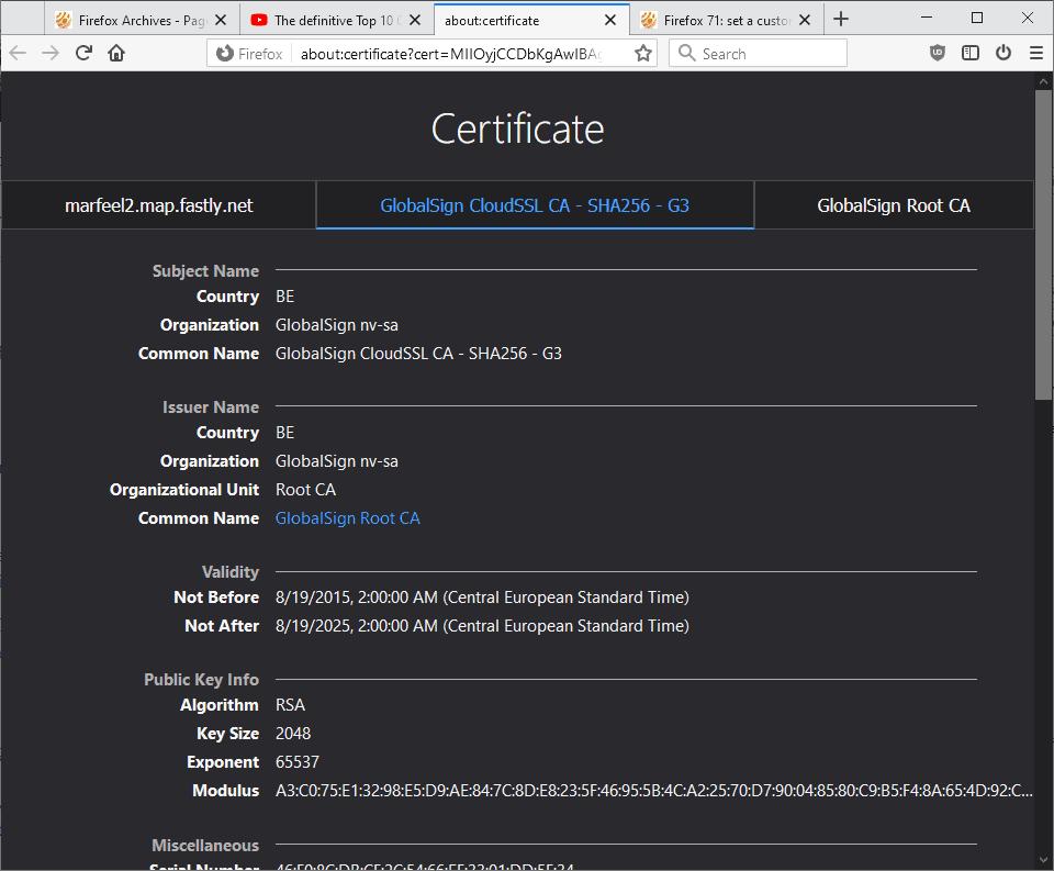 firefox 71 certificates viewer