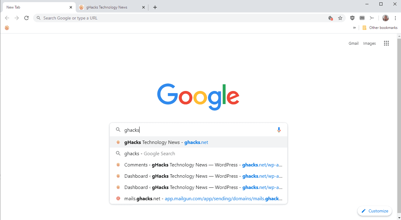 google chrome real search new tab page