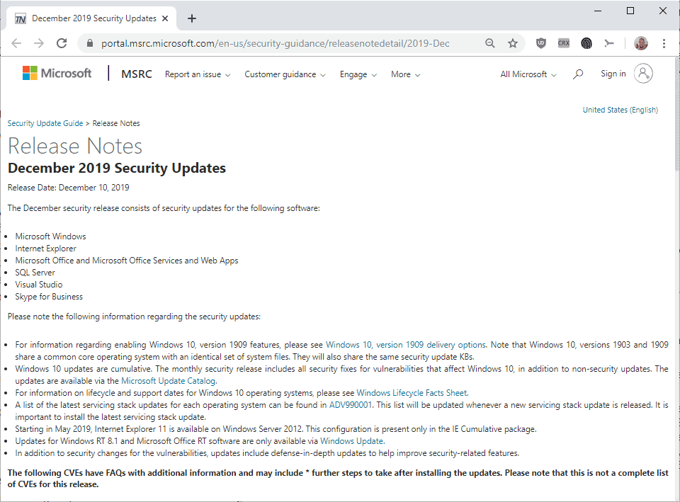 microsoft windows security updates december 2019