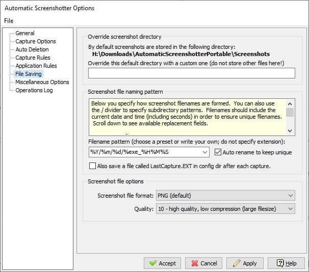 Automatic Screenshotter options