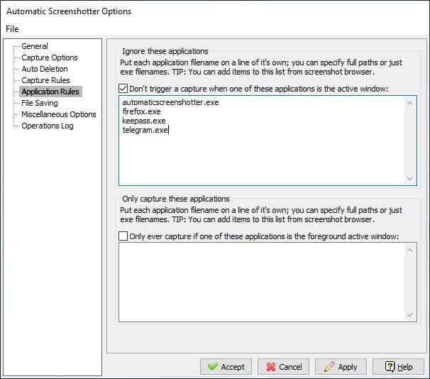 Automatic Screenshotter settings