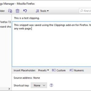 Save text snippets and paste them quickly with the Clippings extension for Firefox and Thunderbird