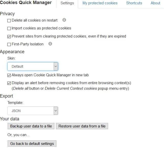 Cookie quick manager settings