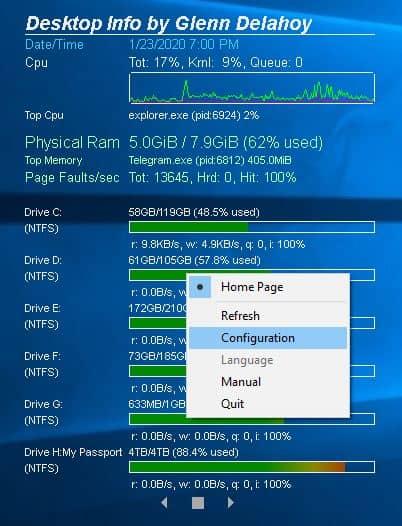 Desktop Info context menu