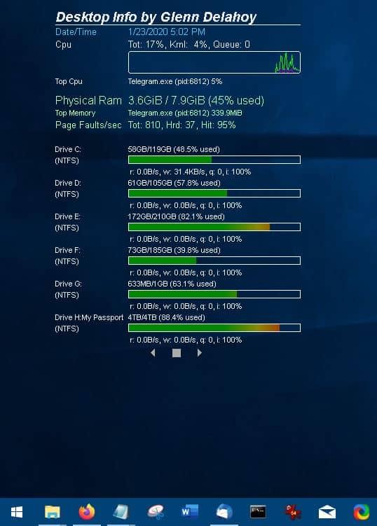 Desktop Info is a free system monitoring widget for Windows