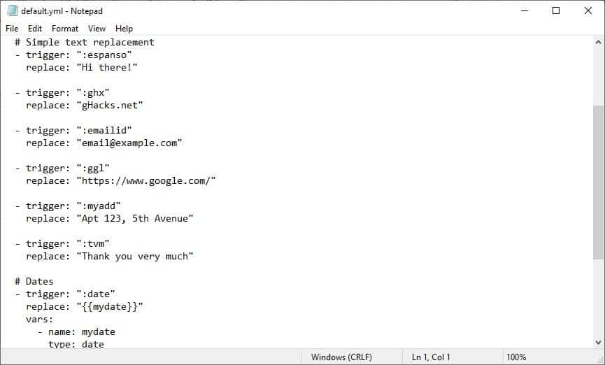 Espanso is an open source text expander for Windows, Mac and Linux