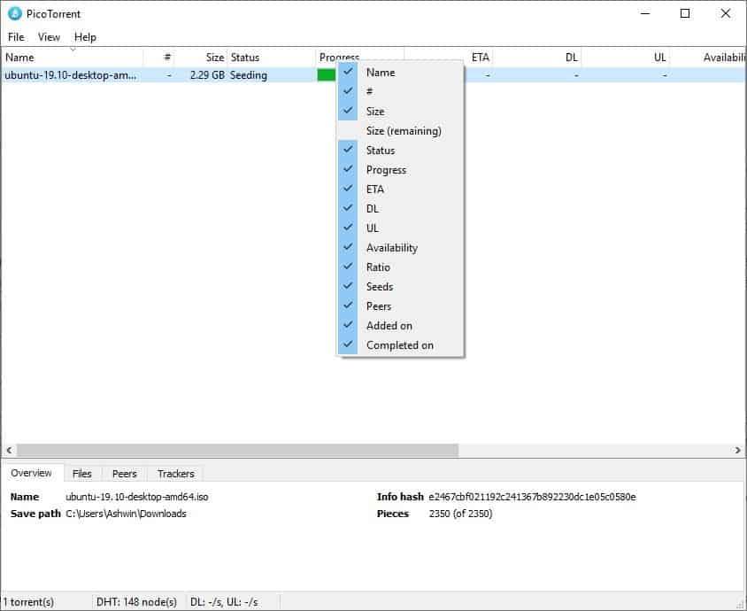 PicoTorrent columns