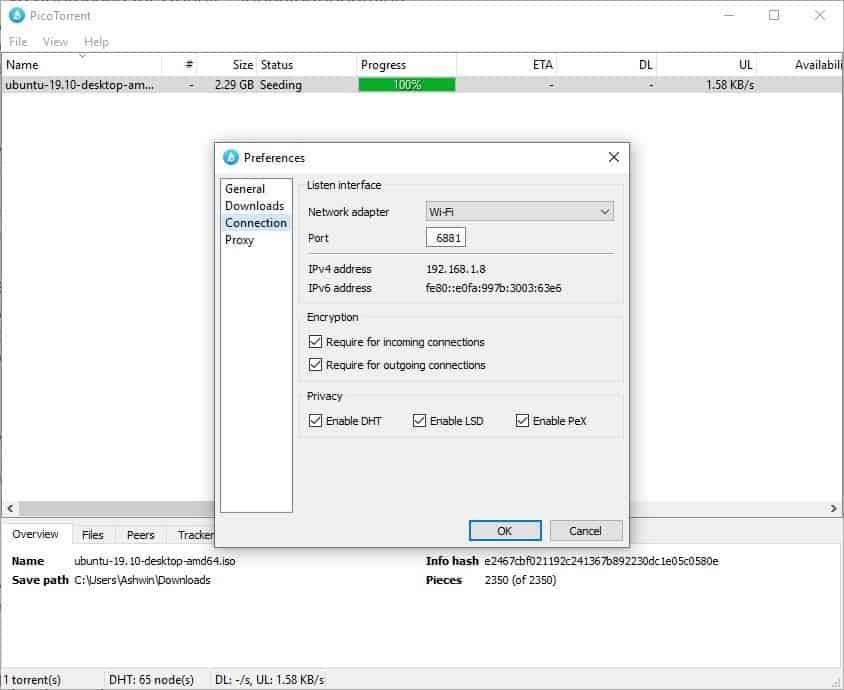 PicoTorrent connection
