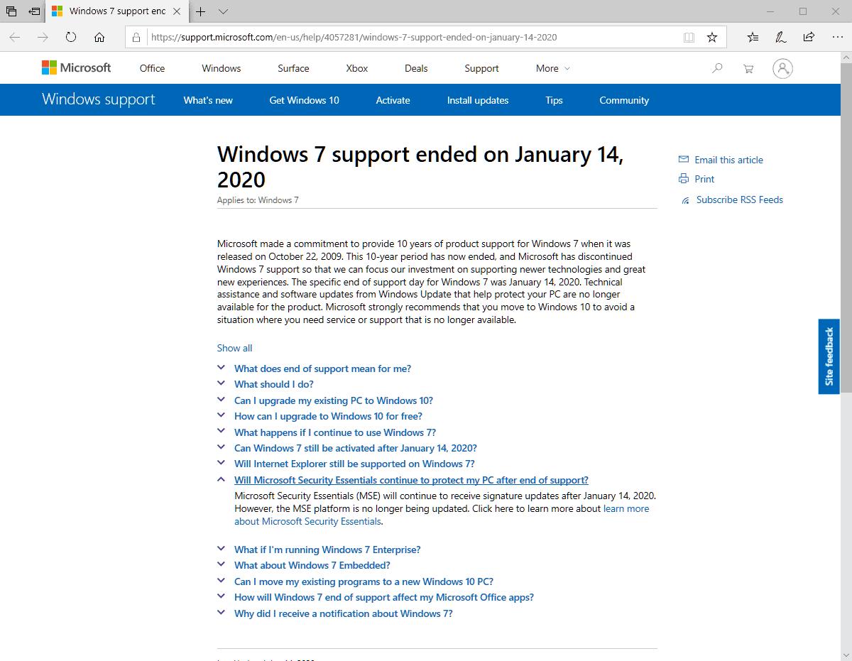 antivirus support windows 7