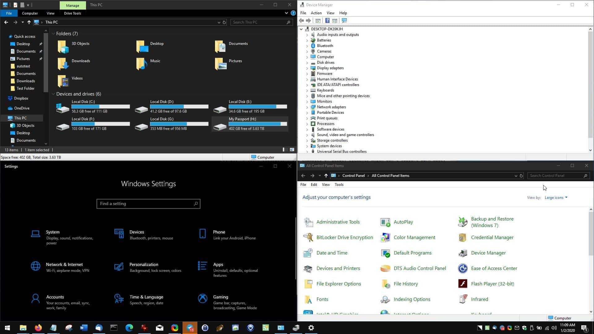 dark mode on Windows 10