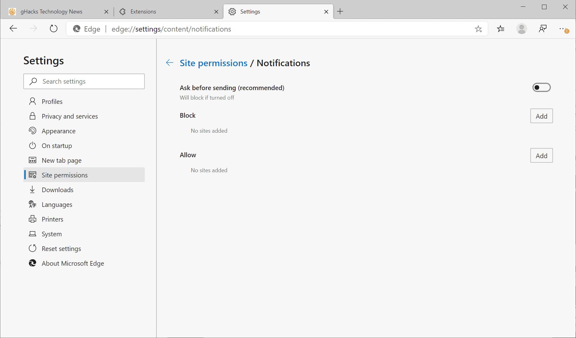 edge notifications