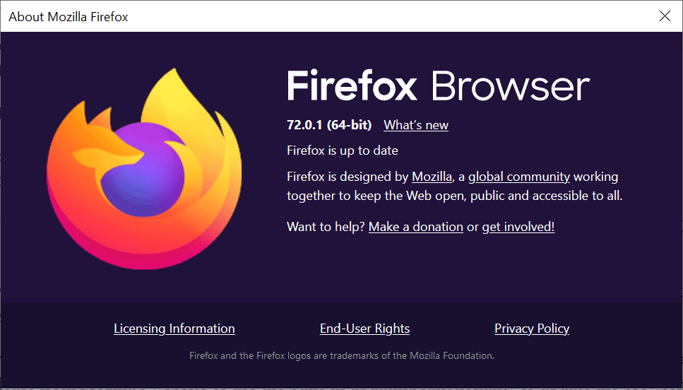 Firefox 72.0.1 fixes a security vulnerability that is actively exploited