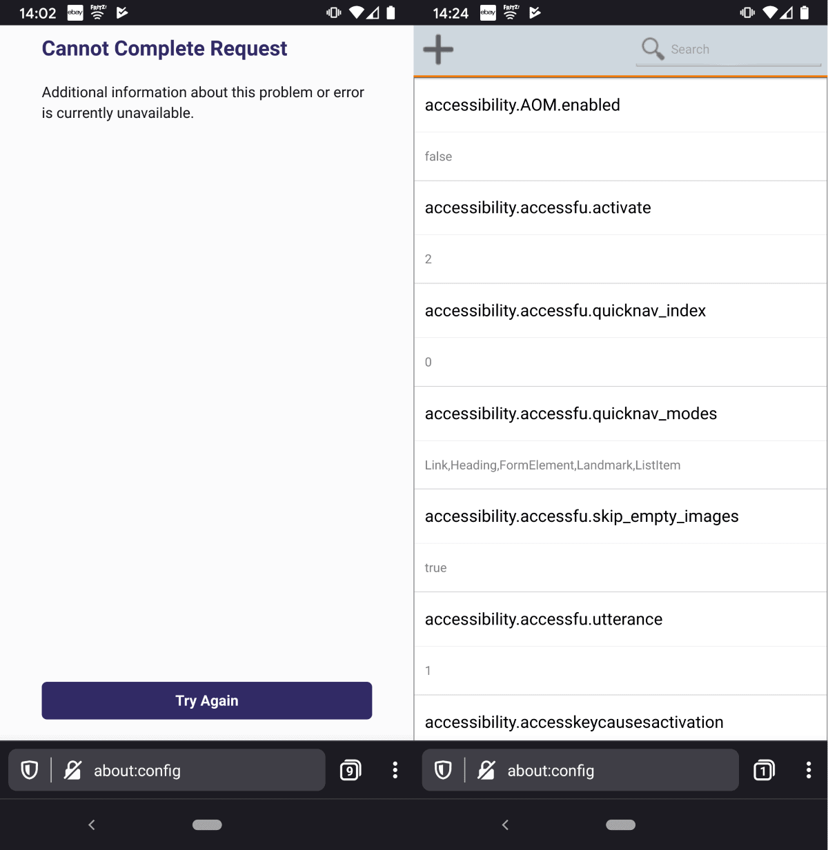 firefox about config cannot complete request