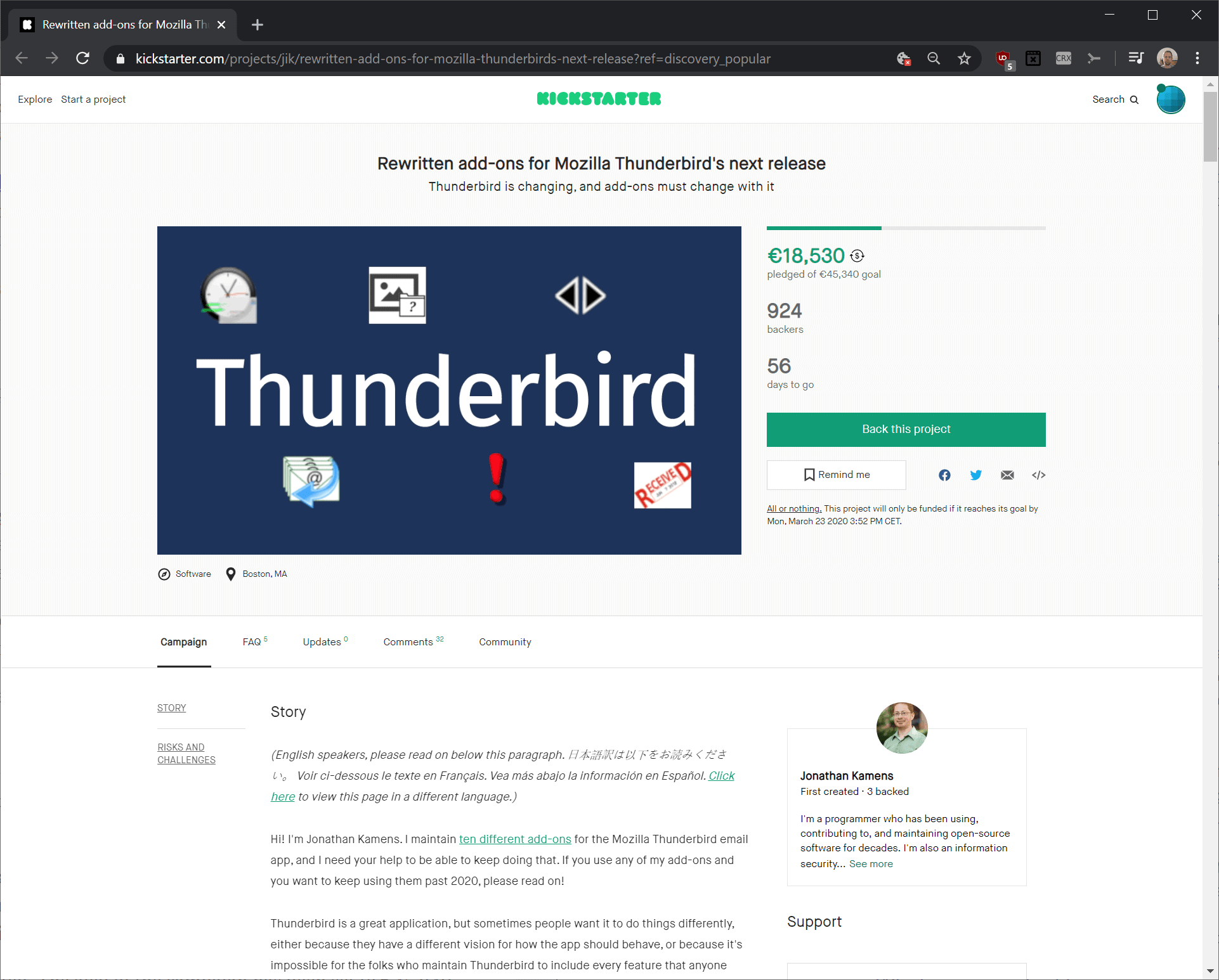 Thunderbird add-on developer launches Kickstarter campaign to ensure continued compatibility