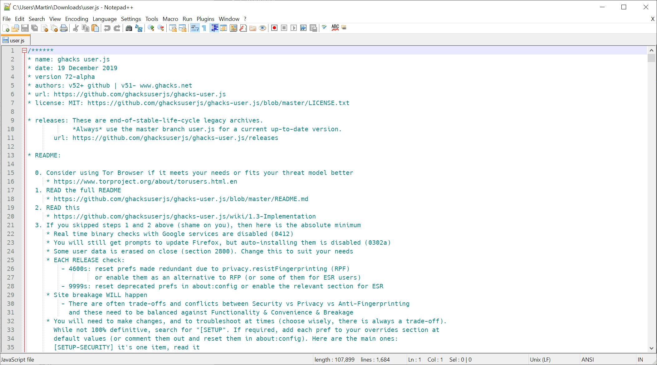 user.js file firefox