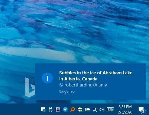 BingSnap notifications