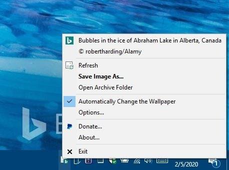 BingSnap system tray