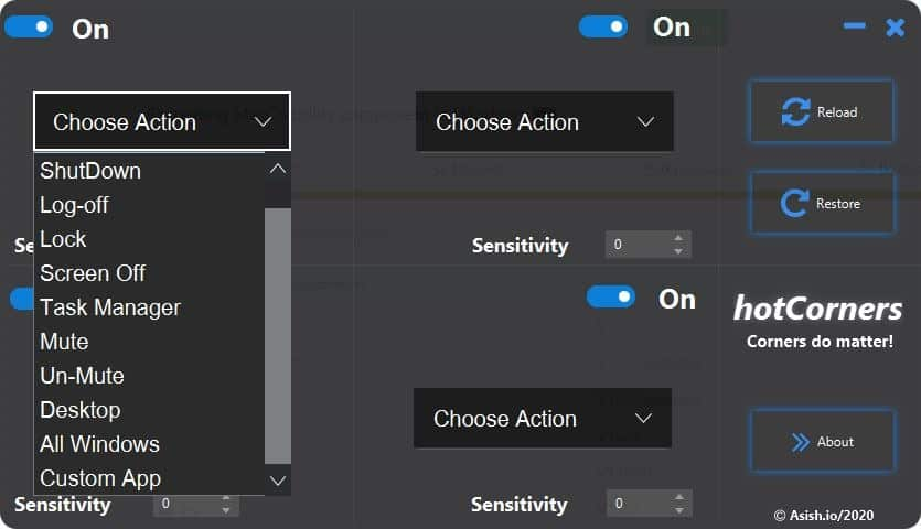 HotCorners select actions