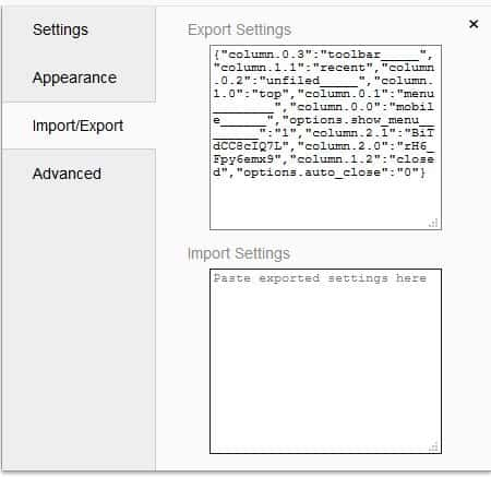Humble New Tab Page import and export