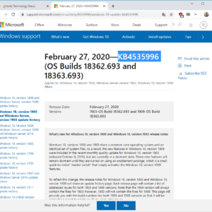 KB4535996 windows 10 1903 1909